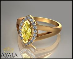 14K Yellow Gold Yellow Diamond Marquise by AyalaDiamonds on Etsy