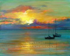 "Items similar to Art Print ""Sunset Pair-adise"" colorful sunset waterscape sailboat painting 11 x 14 - Susan Gersch Supanich on Etsy Colorful Paintings, Seascape Paintings, Beautiful Paintings, Watercolor Paintings, Sailboat Art, Sailboat Painting, Sailboats, Landscape Art, Landscape Paintings"