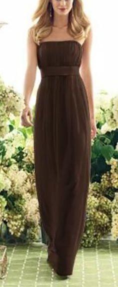 Full Length, Strapless, Brown Dress