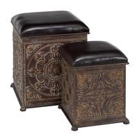 $102 Antiqued Metal Leather Foot Stool Ottoman Set/2