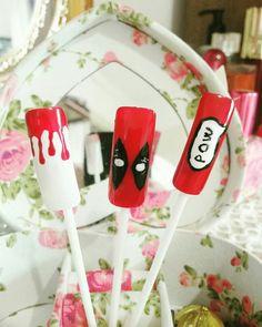 Deadpool inspired nails art