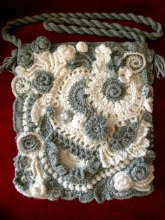 Crochet Patterns Bag Garnzauber - crochet art: My second post . Free Form Crochet, Crochet Art, Love Crochet, Crochet Motif, Irish Crochet, Crochet Crafts, Crochet Stitches, Crochet Projects, Crochet Handbags