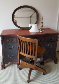 """Vintage faux painted desk with vintage hardwood desk chair, modern desk lamp and mirror. Hand painted curved front desk 50""""Lx19""""Dx30""""H; wood desk chair by Taylor's of OH (see photo), 16.5""""Wx19.5""""Dx22.5""""H; oval wood framed mirror 27""""Wx23""""H; modern decorative lamp approx. 17""""H with fabric shade. Cond of older pcs good considering age, lamp and mirror very good condition"""