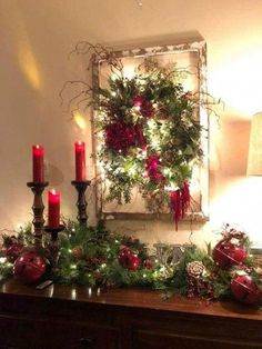 Easy DIY Christmas Decor ideas for your table mantle and wall using garland and candles. Elegant rustic farmhouse Christmas budget decor ideas for the home party or wedding. Diy Christmas Fireplace, Farmhouse Christmas Decor, Christmas Mantels, Rustic Christmas, Christmas Diy, Christmas Wreaths, Christmas Budget, Christmas 2019, Christmas Bathroom