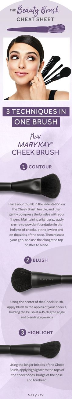 Cheeking out over this makeup tutorial! Learn how to contour, highlight and more with the new Mary Kay® Cheek Brush. #makeuptipsideas