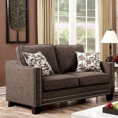 Furniture of America Armensio Contemporary Chenille Loveseat