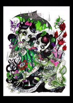 Artist: Tegan Cottington ~ Image Title: It's Raining Leprosy & Acid 2006 My half sleeve I've had since 2008 Gothic Drawings, Art Drawings, Desenho New School, Rockabilly Art, Cute Goth, Different Forms Of Art, Beautiful Dark Art, Digital Art Fantasy, Gothic Fairy