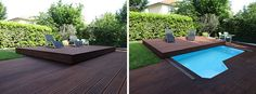 Deck Design Idea – This Raised Wood Deck Is Actually A Sliding Pool Cover
