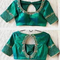 New ideas embroidery blouse designs simple thread Cutwork Blouse Designs, Simple Blouse Designs, Stylish Blouse Design, Saree Blouse Designs, Sari Blouse, Latest Blouse Neck Designs, Blouse Styles, Simple Embroidery Designs, Embroidery Works