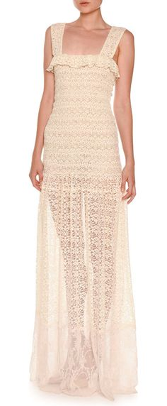 Sleeveless Smocked Lace Gown by Stella McCartney. Stella McCartney lace gown. Ruffled square neckline. Sleeveless. Smocked bodice. Pleated A-line skirt. Pullover style...