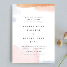 """Watercolor Wisp"" - Modern Wedding Invitations in Blush by Ariel Rutland. gorgeous stationery, graphic design inspiration"