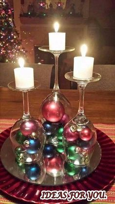 Candleholders from old glass #ideasfouyou #diy #handmade #christmascrafts