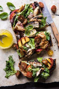Open Faced Rosemary Chicken, Peach, and Bacon Sandwich | halfbakedharvest.com #summerrecipe #easyrecipes #peach #chicken #healthy via @hbharvest