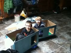 Use a scooterboard to create a train with windows for arm holes to propel !