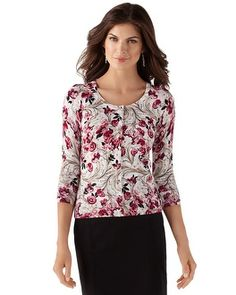 3/4-SLEEVE FLORAL CARDIGAN  STYLE: 570070433  Limited Time! Buy 1, Get 1 50% Off  Florals like this encourage wardrobes to blossom. Berry and Begonia pinks look pretty on our snap-front cardi scrolled in neutrals with glimmers of silver metallic threads. 79% Rayon; 21% Nylon. Hand wash, cold; lay flat to dry. Imported.  Contoured stretch fit.  Jewel neckline. Rhodium-finish metal buttons on hidden snap placket reinforced with grosgrain ribbon.