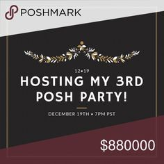 🎉HOSTING MY 3RD POSH PARTY!!🎉 💖hosting my third posh party December 19th @ 7pm pst - come celebrate with me!   Theme TBD but I'm looking for host picks now!!💖 Anthropologie Other