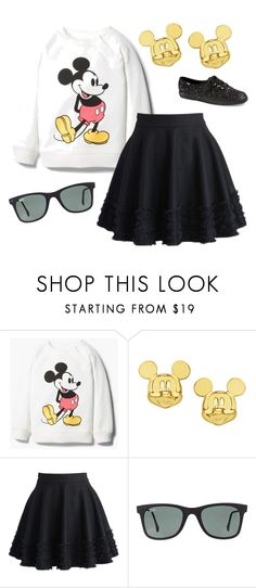 """My Disney day"" by avamariebrown ❤ liked on Polyvore featuring MANGO, Disney, Chicwish, Ray-Ban and Keds"