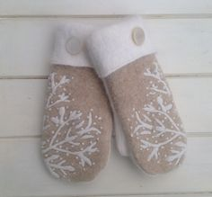 Felted Wool Tan and Cream Design Repurposed Sweater Mittens for Women Size Small White Polyester Fleece Lining and Vintage Buttons by SewforYou on Etsy