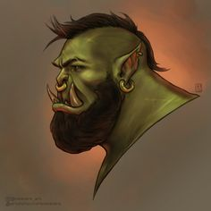 World Of Warcraft Orc, World Of Warcraft Characters, Fantasy Characters, Fantasy Character Design, Character Art, Dnd Orc, Orc Warrior, Cyberpunk Character, Queer Art