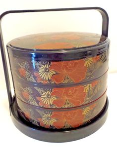Asian Lacquered Box 3 Tier Stacking Lunch Box Jubako Bento Box Floral Design