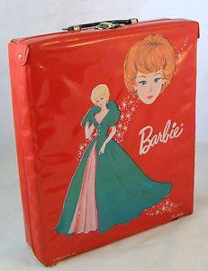 Vintage Barbie Doll Red Vinyl Trunk Carrying Case Wardrobe 1963 ...