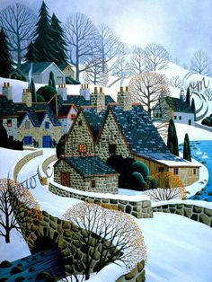 Raindrops and Roses — afrouif: George Callaghan Art Village, Art And Illustration, Primitive Painting, Cow Art, Gouache Painting, Painting Abstract, Acrylic Paintings, Naive Art, Winter Scenes