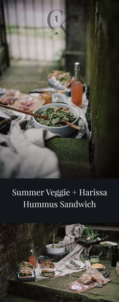 This veggie and harissa hummus sandwich is something you can pull together in just a few minutes, pack up and head out with. I'd recommend bringing along a nice bottle of rose', chips, fresh fruit, and this green goddess quinoa summer salad ! The prosciutto is optional, yet a delicious addition.
