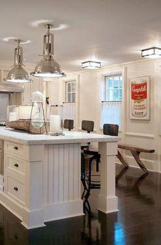 Vogue Living - contemporary - kitchen - new york - Thom Filicia Inc. White Kitchen Island, White Kitchen Cabinets, Kitchen Islands, Eclectic Kitchen, Kitchen Industrial, Funky Kitchen, Awesome Kitchen, Rustic Industrial, Kitchen Stuff