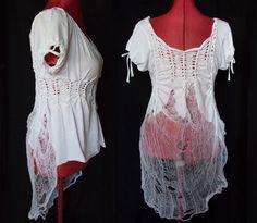 White shredded shirt  eco romantic tunic top  by YudelevitzEco, $47.00