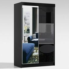 Price: £309.99 Mirror Wardrobe Durable and scratch-resistant Available in Black Storage Boxes, Storage Shelves, Storage Spaces, Shelf, Mirrored Wardrobe, Sliding Wardrobe, Wardrobe Sale, How To Look Classy, Sofa Set