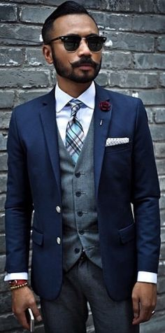 ~ Beautiful suit on a dapper & handsome man...It's all about the details.