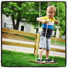 Make a skateboard swing in 20 minutes. Not only a great way to upcycle an old skateboard, but also gets kids active and excited to get outside.