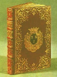Red leather gilded binding with the coat of arms of Madame de Pompadour. Her personal library contained 3,525 volumes.    Madame de Pompadour, née Jeanne-Antoinette Poisson. In 1744 she caught the eye of Louis XV & became his mistress. Très cultivée et bien élevée, she left her mark on the arts, literature, theater, and the decorative arts.