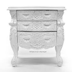 Fabulous and Rococo Side Table  White Lacquer