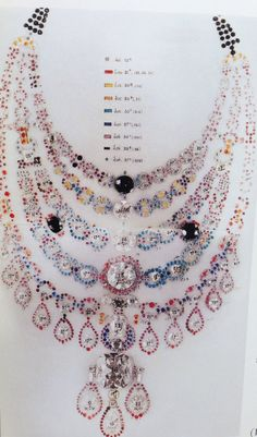 A working drawing for the spectacular bib like diamond necklace created by Cartier for the Maharaja of Patiala c.1928