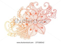 Doodle. Zentangle. Flowers. Hand drawing floral pattern