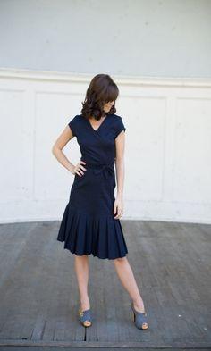 Navy Pleated Skirt Bow Dress