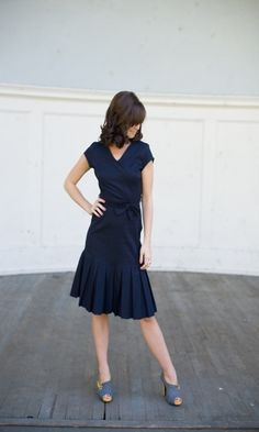 Navy Pleated Skirt Bow Dress