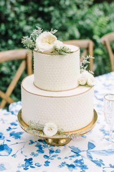 Gold and swiss dot cake | Aaron and Jillian
