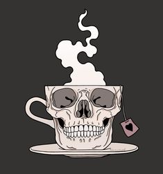 It's tea o'clock💀☕️ (for me) (always) #teaaddict #skullmug #mugskull #skull idea by @boneyardoddities 🖤 [Werbung wg Nennung]