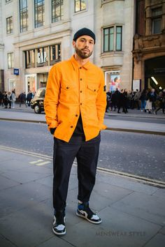Rocco on the streets of London wearing Orange Stone Island Shirt Jacket Nike Jordan Trainers and Black Fisherman Beanie. The post Rocco on the streets of London wearing Orange Stone Island Shirt Jacket Nike Jo appeared first on Street. Man Street Style, Men Street, Street Wear, Mode Streetwear, Streetwear Fashion, Mode Masculine, Stone Island Shirt, Stone Island Clothing, Stone Island Beanie