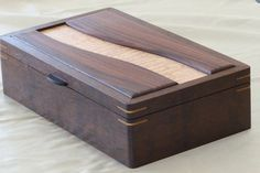 Imbuia keepsake box - Box body is made from imbuia. Top is curly maple and rosewood. Small ebony lift and Brusso hinges. Finish is four coats of Deftoil.