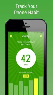 Checky app: insight into your phone checking habit, Checky helps you become more aware. This awareness can help you make changes to your phone usage, if you feel you need to make a change!