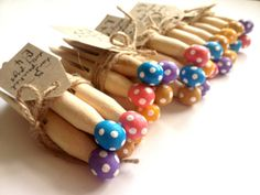 Hand Painted Multicoloured Spotty Dotty Wooden Dolly Pegs on Etsy, £4.00