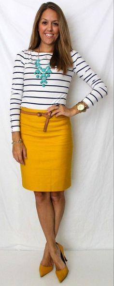 teal statement necklace / navy and white striped shirt / mustard yellow skirt / mustard pumps / brown belt