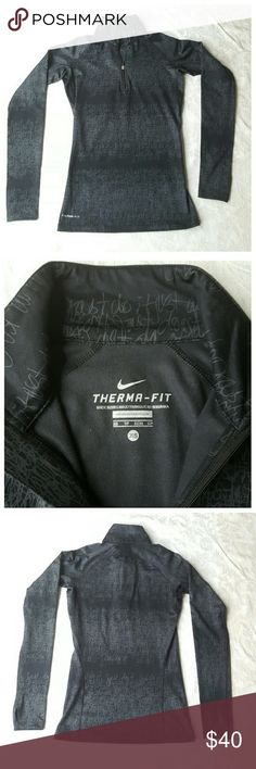 Nike Track Jacket Gray and black track jacket. This jacket is very fitted, please see measurement photo. Nike Tops Tees - Long Sleeve