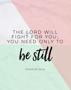 Exodus 14:14 Be still. Wait on God's timing.