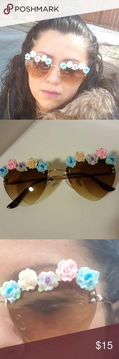 Heart shape flower Halo sunglasses Heart-shaped flower Halo sunglasses unknown Accessories Sunglasses