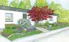 A front garden becomes an inviting entree - GartenDesign Creative Landscape, Landscape Sketch, Pool Plants, Flower Beds, Garden Landscaping, Backyard, Painting, Outdoor, Kindergarten