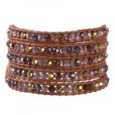 [ 34% OFF ] Kelitch Jewelry  Natural Ab Crystal Beaded Handmade String Brown Genuine Leather 5 Wrap Friendship Bracelet